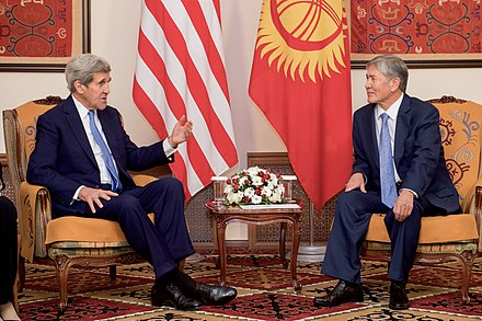 President Almazbek Atambaev (2011-17) on a meeting with U.S. Secretary of State John Kerry, 31 October 2015 Secretary Kerry Meets With Kyrgyz President Atambaev in Bishkek, Kyrgyzstan (22454204010).jpg