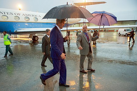 Secretary Kerry Walks Through Rain Upon Arriving in Havana to Accompany President Obama During His Visit to Cuba (25936489766).jpg
