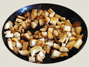 Croutons in a bowl