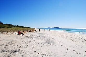 Booti Booti National Park - A view of Seven Mile Beach, some of which is contained within Booti Booti National Park