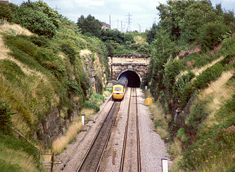 Severn Tunnel - A High Speed Train enters the Severn Tunnel from the Welsh side.