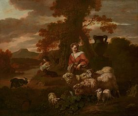 Shepherdess and Shepherd with Sheep and Goats