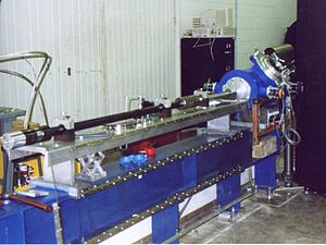 Light-gas gun - A light-gas gun at Rice University. Using hydrogen gas and powered by a shotgun shell, it achieves a velocity of 7 km/s. Used during the development of the Gamma-ray Large Area Space Telescope shield.