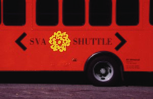 George Tscherny - Shuttle bus for the School of Visual Arts featuring Tscherny's logo design.