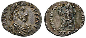 "Eugenius - Eugenius wearing imperial insignia, on a coin celebrating the VIRTVS ROMANORVM, the ""(military) value of the Romans""."