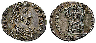 Battle of the Frigidus - Eugenius on a coin. The Western ruler was taken prisoner after the battle and beheaded. His head was displayed in Theodosius' camp.