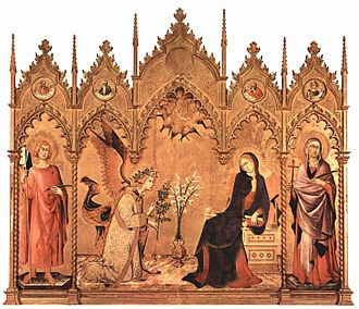 "An altarpiece with a golden background and a frame surmounted by five richly carved Gothic pediments. Centre, the Virgin Mary, who has been reading, turns in alarm as the Angel Gabriel kneels to the left. The angel's greeting ""Ave Maria, Gratia Plena"" is embossed on the gold background. The figures are elongated, stylised and marked by elegance. There are saints in the side panels."