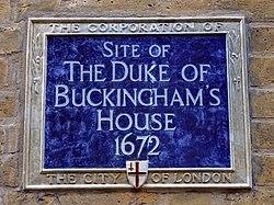 Site of the duke of buckingham's house 1672