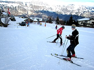 Observational learning - Image: Skiing lesson at Flumserberg