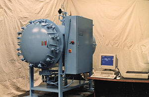 Autoclave (industrial) - Autoclave used to manufacture F-16 radar transponder antennas. Electric heat, simple door, automated control.