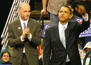 Adam Smith (politician) - Adam Smith and Barack Obama at a campaign rally at Seattle's KeyArena, February 8, 2008.