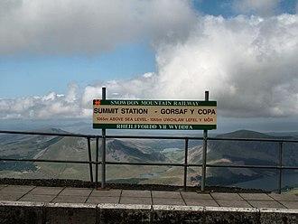 Summit (SMR) railway station - Image: Snowdon Mountain Railway summit station sign