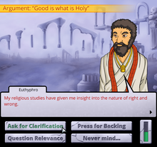 A screenshot from the game Socrates Jones: Pro Philosopher, showing an argument, with a character sprite, a dialogue box, and buttons for selecting what to do displayed.