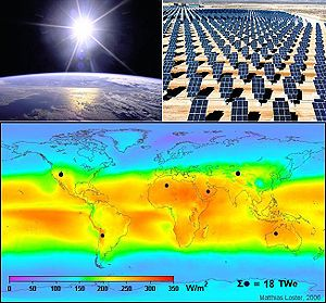 Collage of solar energy; clockwise, from upper...