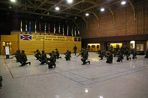 Cartier Square Drill Hall - Soldiers of The Cameron Highlanders of Ottawa - Weapons training in Drill Hall