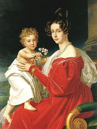 Princess Sophie of Bavaria - Archduchess Sophie and her son the future emperor Franz Joseph (by Joseph Karl Stieler)