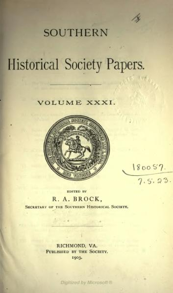File:Southern Historical Society Papers volume 31.djvu