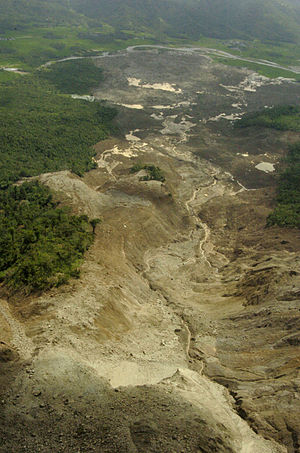 2006 Southern Leyte mudslide - View of the Southern Leyte rockslide-debris avalanche body from the landslide crown. Distance to the toe is approximately 4 km.