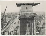 Southern pylon of the Harbour Bridge being washed, 1932 (8283756022).jpg