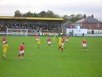 Southport F.C. - Southport (in yellow) vs Kidderminster Harriers at Haig Avenue, 22 November 2005.