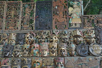 Souvenir - Hand-carved wood souvenirs for sale in Chichén Itzá, Yucatán, Mexico.