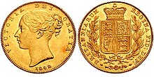 Two 1842 gold sovereigns side by side, one displaying its obverse face, the other showing the reverse