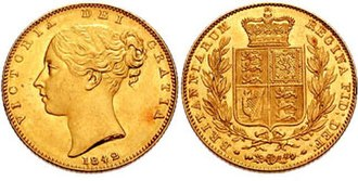 Sovereign (British coin) - Image: Sovereign Victoria 1842 662015