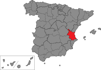Valencia (Congress of Deputies constituency) - Location of Valencia within Spain