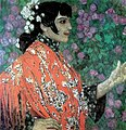 Spanish lady in red shawl by A.Golovin (1906).jpg