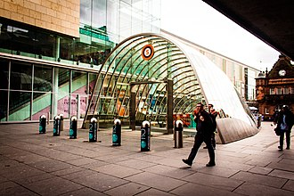 St Enoch subway station - The new glass canopy entrance at the north side of St Enoch Square