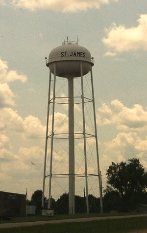 St. James, Missouri - Water tower in St. James