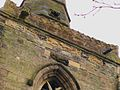 St Mary, Humberstone, close-up of tower.JPG