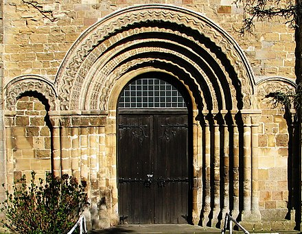Norman doorway of St Mary's Priory Church St Marys Church Chepstow.jpg