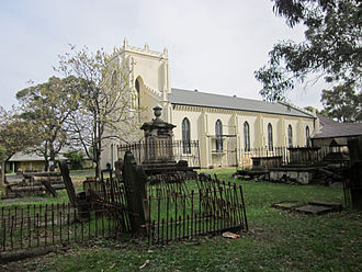 St Peters Church, St Peters - St Peters Church and cemetery. The spire and bell chamber were removed in 1963.