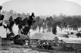 Gympie - Gympie residents head for higher ground during the flooding in 1870