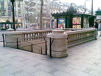 Architecture of the Paris Métro - Entrance to Franklin D. Roosevelt station in classical Greek-Roman style
