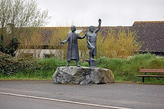 Cornish rebellion of 1497 - Statue of Michael Joseph the Smith and Thomas Flamank in St Kevern Cornwall.