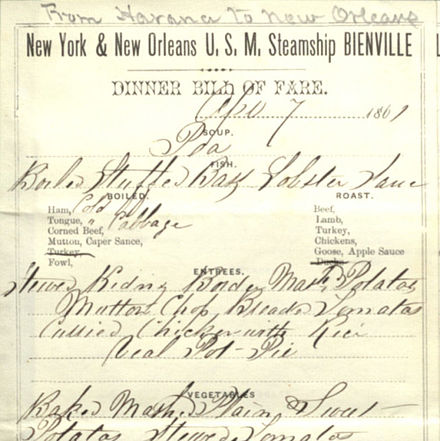 Steamship Bienville on-board restaurant menu (April 7, 1861) Steamship Bienville on-board restaurant menu (April 7, 1861).jpg