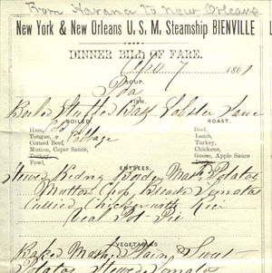 Steamship Bienville on-board restaurant menu (April 7, 1861)