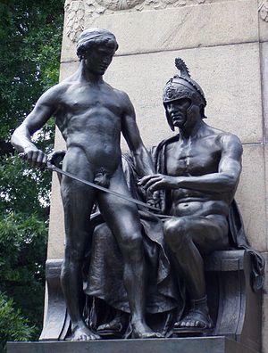 "Albert Jaegers - ""Military Instruction"": Detail of the Steuben Monument, Lafayette Park, in President's Park, Washington D.C."