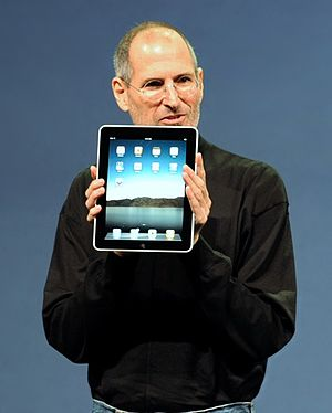 IPad - Image: Steve Jobs with the Apple i Pad no logo (cropped)