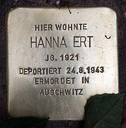 Photo of Hanna Ert brass plaque