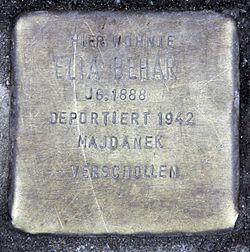 Photo of Elia Behar brass plaque