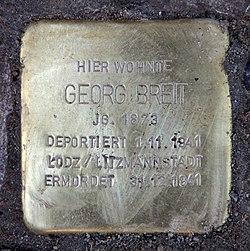 Photo of Georg Breit brass plaque