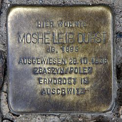 Photo of Moshe Leib Durst brass plaque