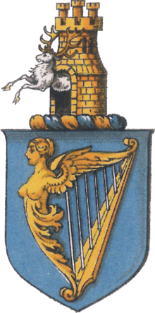A 19th-century drawing of the arms of Ireland