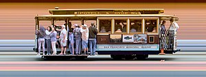Strip photography - Fixed slit photo of a San Francisco Cable Car, showing prominent striped background.