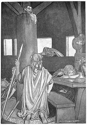 Súaltam - Súaltam's head continues to cry out a warning: illustration by Stephen Reid, from T. W. Rolleston, Myths and Legends of the Celtic Race, 1911