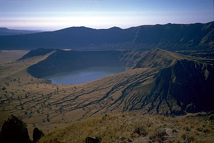 Deriba Crater is at the highest point of the Marrah Mountains Sudan Jebel Marra Deriba Lakes edited.jpg