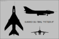 Sukhoi Su-7BKL three-view silhouette.png